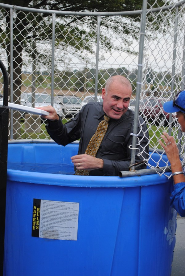 Mr. Thomas in the dunking booth