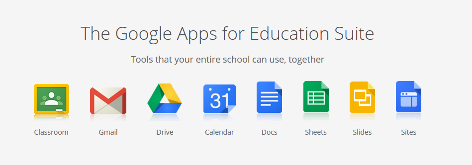 """8 Reasons Your School Should Get Smart With Google Apps for Education."" Google Education Suite, Wise Stamp, www.wisestamp.com/corporate/wp-content/uploads/2015/06/Google_apps_for_education.png."
